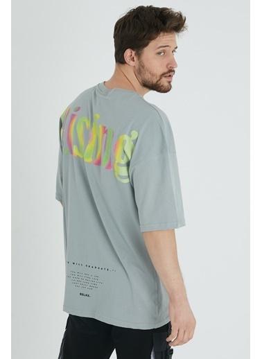 XHAN Buz Mavisi Arkası Baskılı Oversize T-Shirt 1Kxe1-44646-43 Mavi